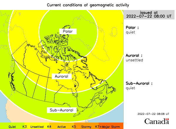 Current geomagnetic  in Canada