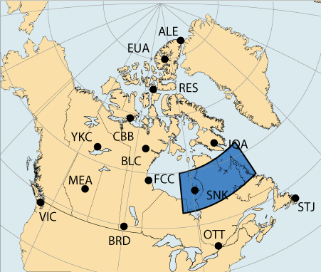Map of Canada with a large area highlighted in the vicinity of Sanikiluaq, Nunavut which is associated with the Eastern Auroral region