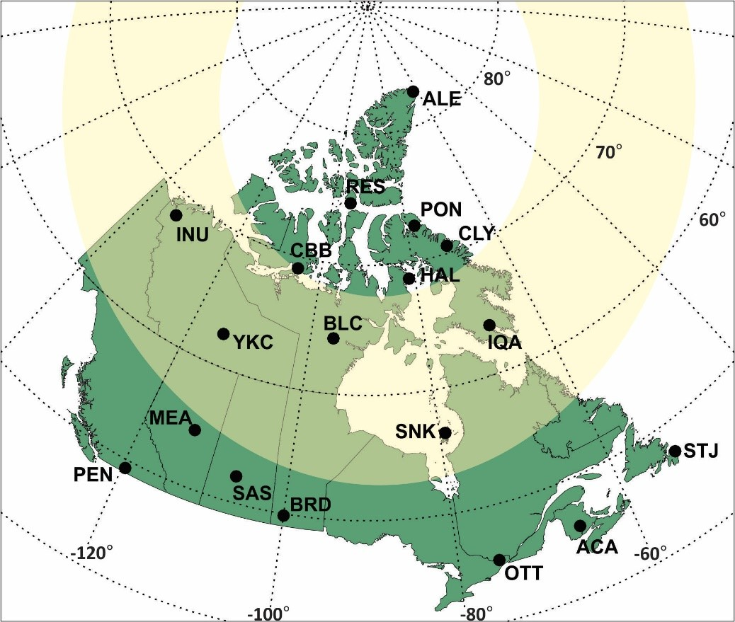 Map of the NRCan riometer network